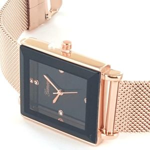 Geneva Rose Gold Mesh Band Unisex Trendy Watch